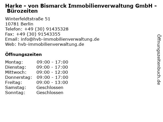 Harke - von Bismarck Immobilienverwaltung GmbH - Bürozeiten in Berlin: Adresse und Öffnungszeiten