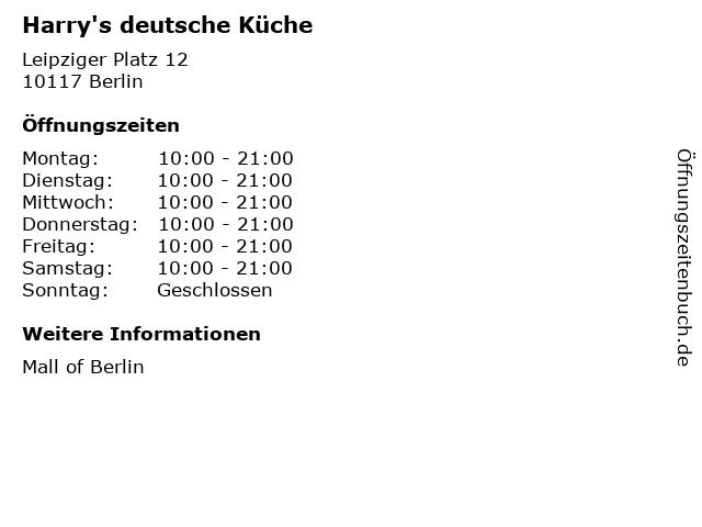ᐅ Offnungszeiten Harry S Deutsche Kuche Leipziger Platz 12 In