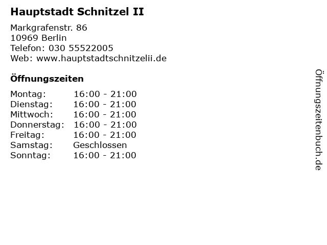 Hauptstadt Schnitzel II in Berlin: Adresse und Öffnungszeiten
