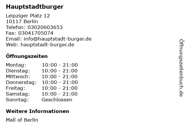 Hauptstadtburger in Berlin: Adresse und Öffnungszeiten