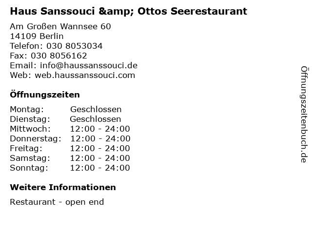 Haus Sanssouci & Ottos Seerestaurant in Berlin: Adresse und Öffnungszeiten