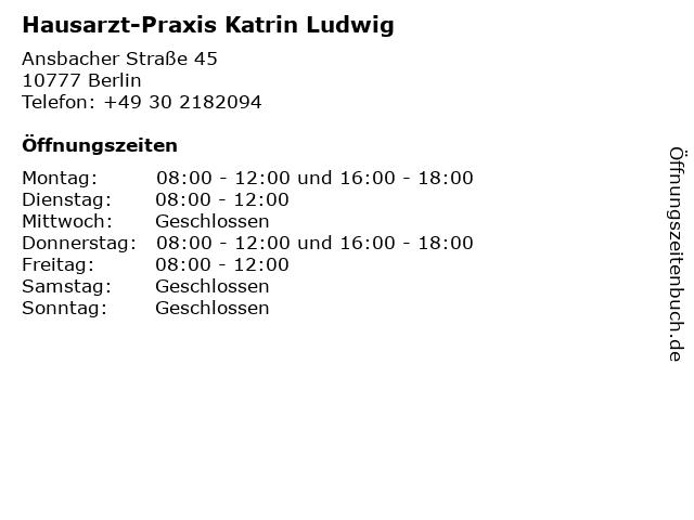 Hausarzt-Praxis Katrin Ludwig in Berlin: Adresse und Öffnungszeiten