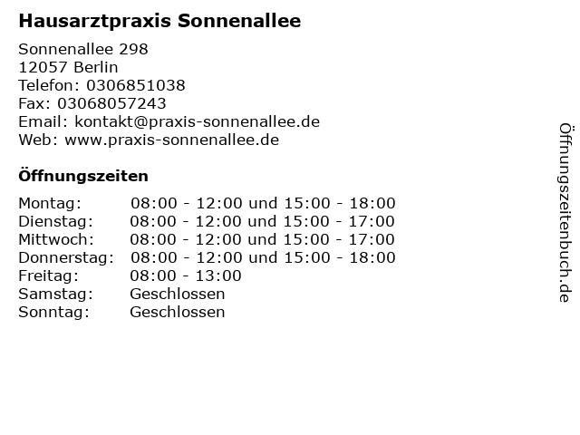 Hausarztpraxis Sonnenallee in Berlin: Adresse und Öffnungszeiten