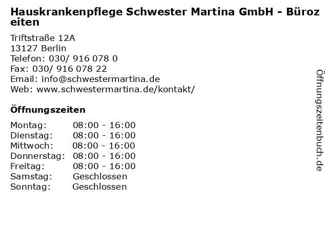 Hauskrankenpflege Schwester Martina GmbH - Bürozeiten in Berlin: Adresse und Öffnungszeiten