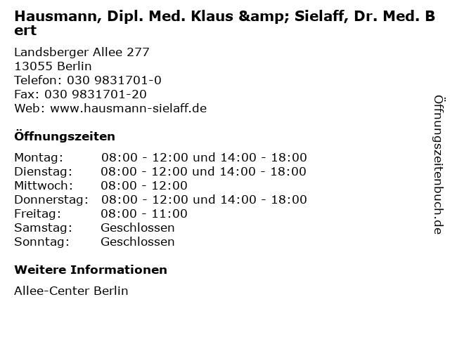 Hausmann, Dipl. Med. Klaus & Sielaff, Dr. Med. Bert in Berlin: Adresse und Öffnungszeiten