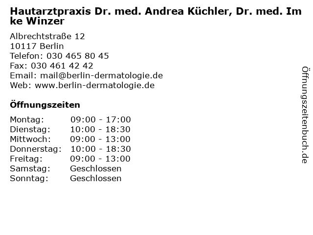 Dermatologe Andrea Küchler in Berlin: Adresse und Öffnungszeiten