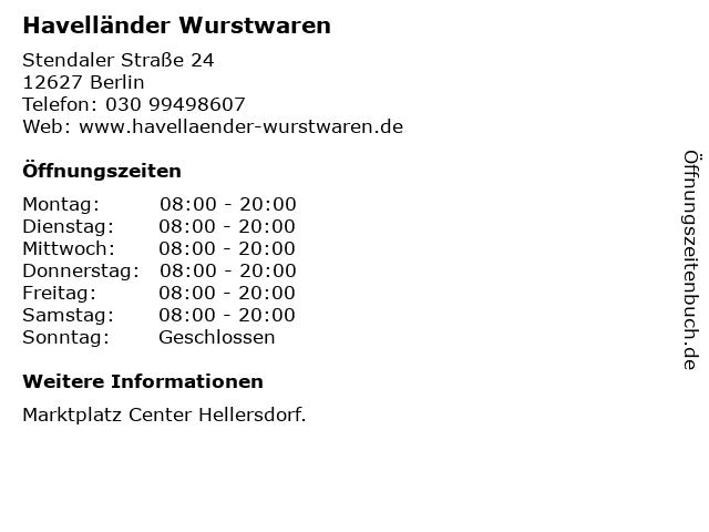 Havelländer Wurstwaren in Berlin: Adresse und Öffnungszeiten