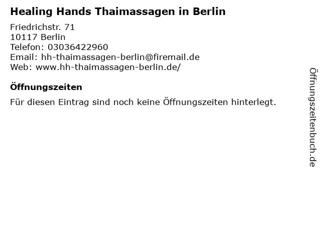 Healing Hands Thaimassagen in Berlin in Berlin: Adresse und Öffnungszeiten