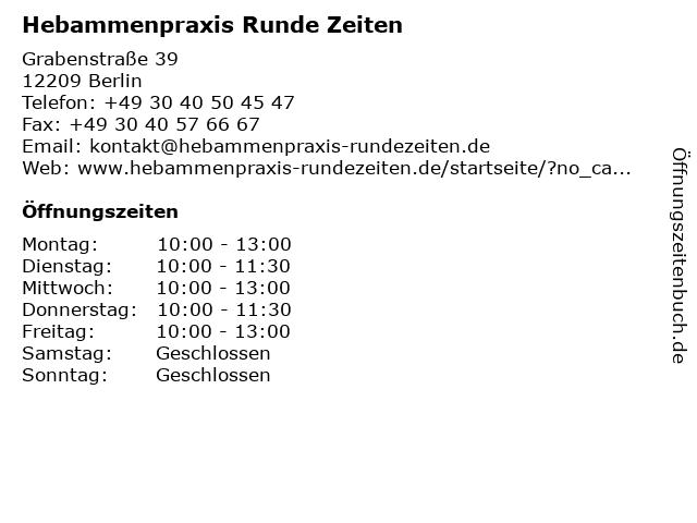Hebammenpraxis Runde Zeiten in Berlin: Adresse und Öffnungszeiten