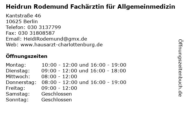 Heidrun Rodemund Fachärztin für Allgemeinmedizin in Berlin: Adresse und Öffnungszeiten