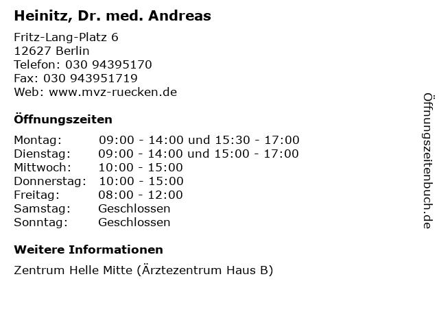 Heinitz, Dr. med. Andreas in Berlin: Adresse und Öffnungszeiten