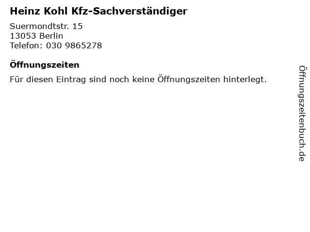 Heinz Kohl Kfz-Sachverständiger in Berlin: Adresse und Öffnungszeiten