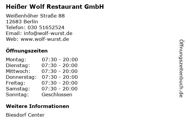 Heißer Wolf Restaurant GmbH in Berlin: Adresse und Öffnungszeiten