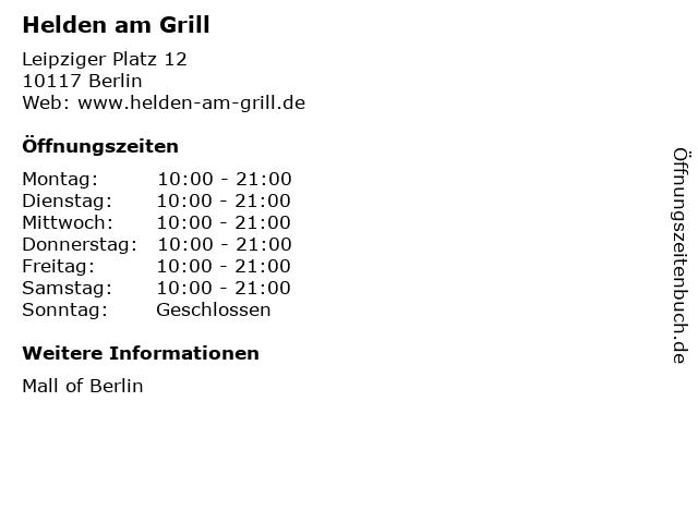 Helden am Grill in Berlin: Adresse und Öffnungszeiten