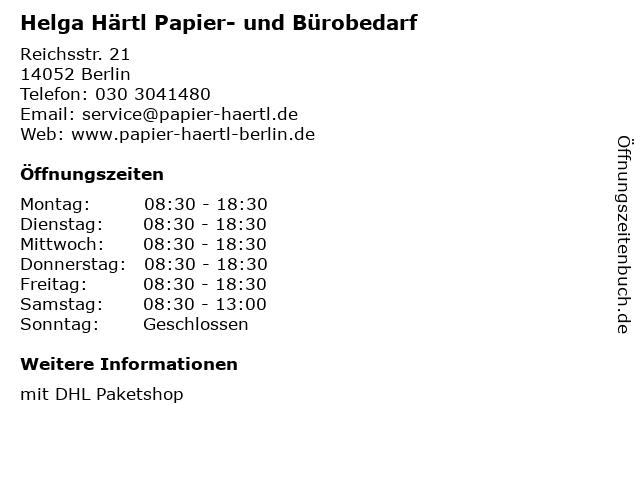 Helga Härtl Papier- und Bürobedarf in Berlin: Adresse und Öffnungszeiten