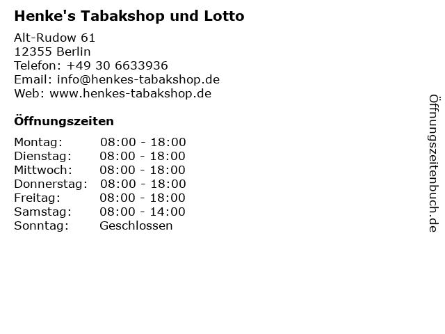Henke's Tabakshop und Lotto in Berlin: Adresse und Öffnungszeiten