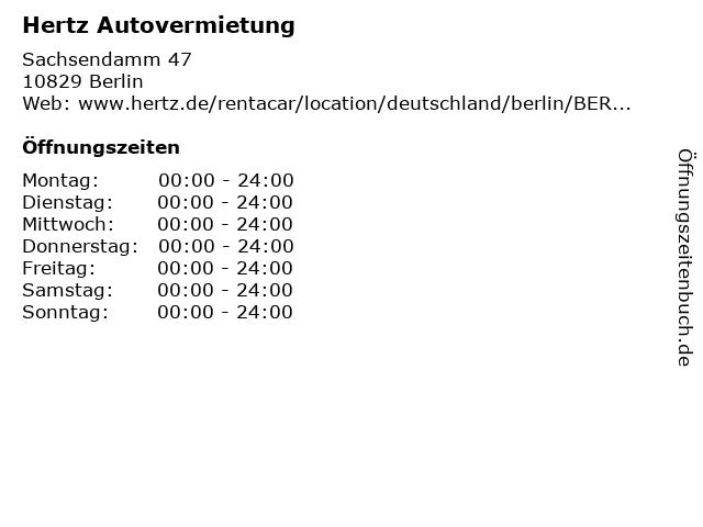 ᐅ öffnungszeiten Hertz Autovermietung Sachsendamm 47 In Berlin
