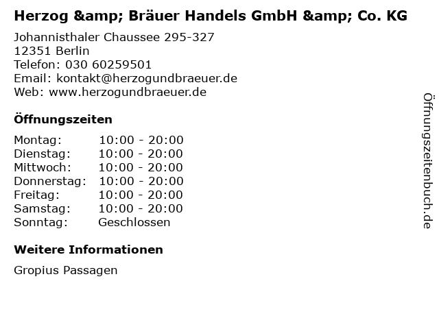 Herzog & Bräuer Handels GmbH & Co. KG in Berlin: Adresse und Öffnungszeiten