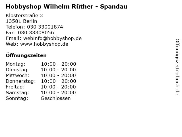 Hobbyshop Wilhelm Rüther - Spandau in Berlin: Adresse und Öffnungszeiten