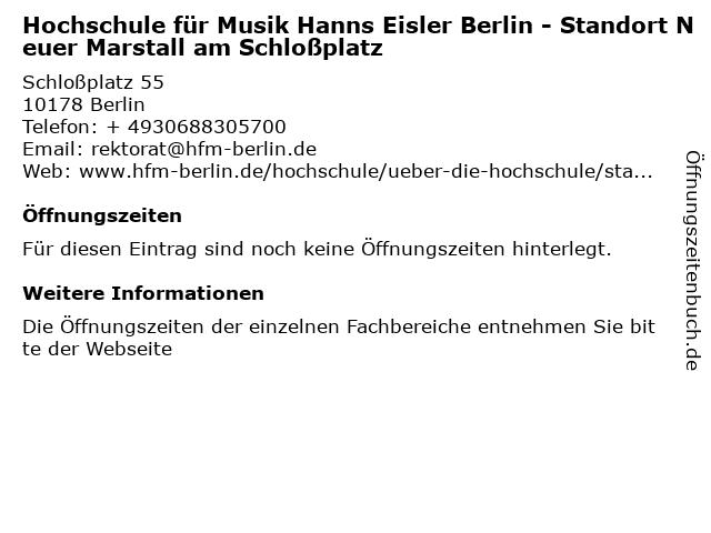 Hochschule für Musik Hanns Eisler Berlin - Standort Neuer Marstall am Schloßplatz in Berlin: Adresse und Öffnungszeiten