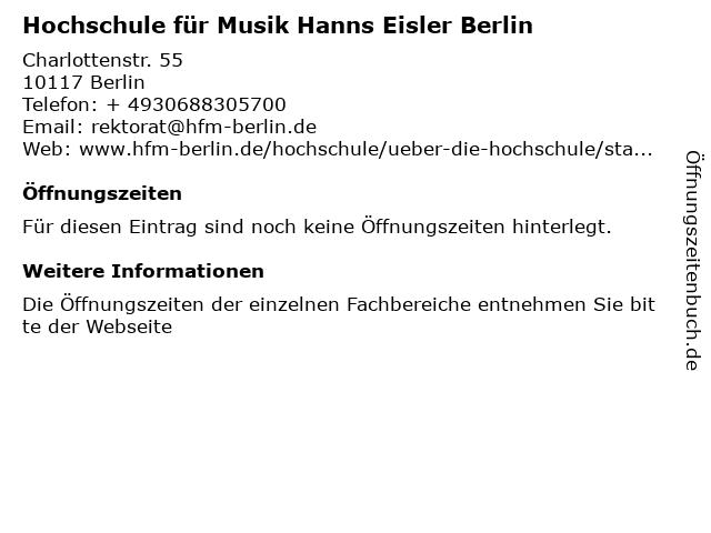 Hochschule für Musik Hanns Eisler Berlin in Berlin: Adresse und Öffnungszeiten
