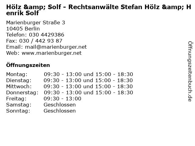 Hölz & Solf - Rechtsanwälte Stefan Hölz & Henrik Solf in Berlin: Adresse und Öffnungszeiten