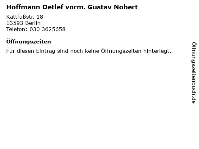 Hoffmann Detlef vorm. Gustav Nobert in Berlin: Adresse und Öffnungszeiten