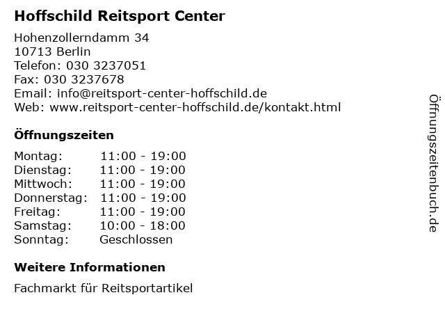 Hoffschild Reitsport Center in Berlin: Adresse und Öffnungszeiten