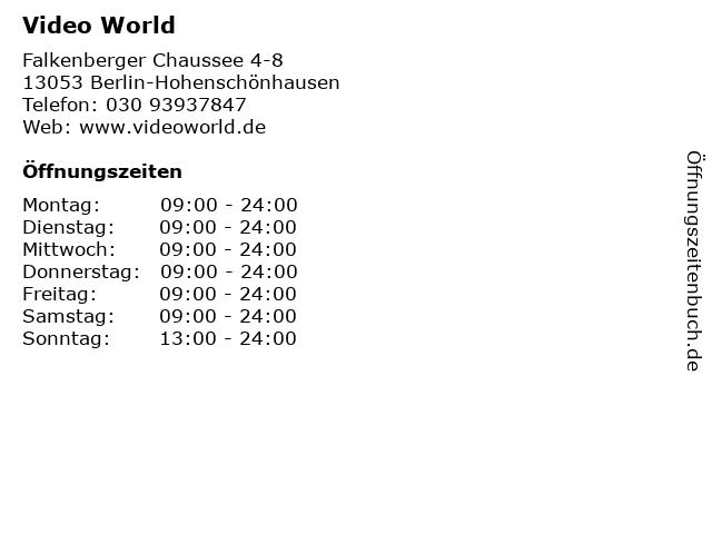 Video World in Berlin-Hohenschönhausen: Adresse und Öffnungszeiten