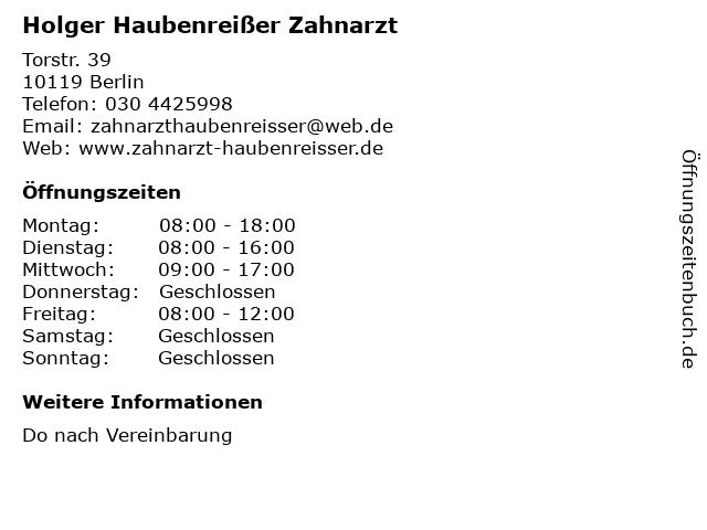 Holger Haubenreißer Zahnarzt in Berlin: Adresse und Öffnungszeiten