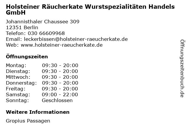 Holsteiner Räucherkate Wurstspezialitäten Handels GmbH in Berlin: Adresse und Öffnungszeiten