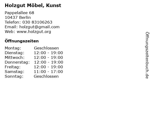 Holzgut Möbel, Kunst in Berlin: Adresse und Öffnungszeiten
