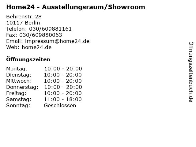 ᐅ öffnungszeiten Home24 Ausstellungsraumshowroom Behrenstr