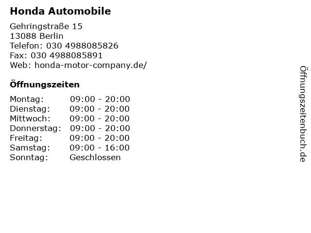 Honda Automobile in Berlin: Adresse und Öffnungszeiten