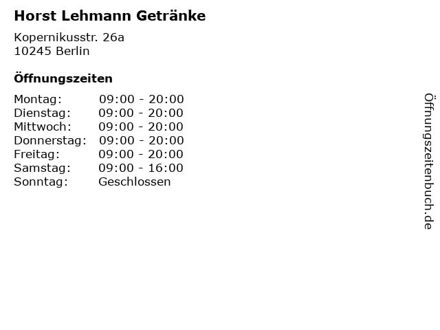 ᐅ öffnungszeiten Horst Lehmann Getränke Kopernikusstr 26a In