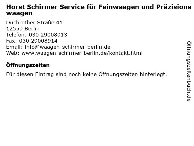Horst Schirmer Service für Feinwaagen und Präzisionswaagen in Berlin: Adresse und Öffnungszeiten