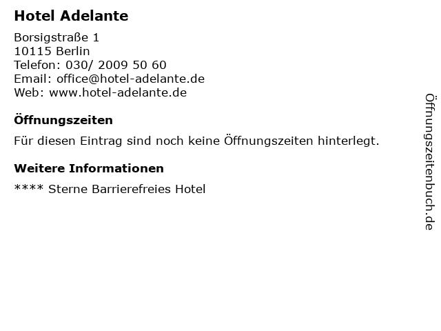 ᐅ Offnungszeiten Hotel Adelante Borsigstrasse 1 In Berlin