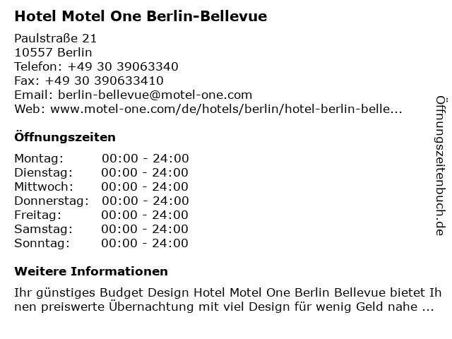 Hotel Motel One Berlin-Bellevue in Berlin: Adresse und Öffnungszeiten