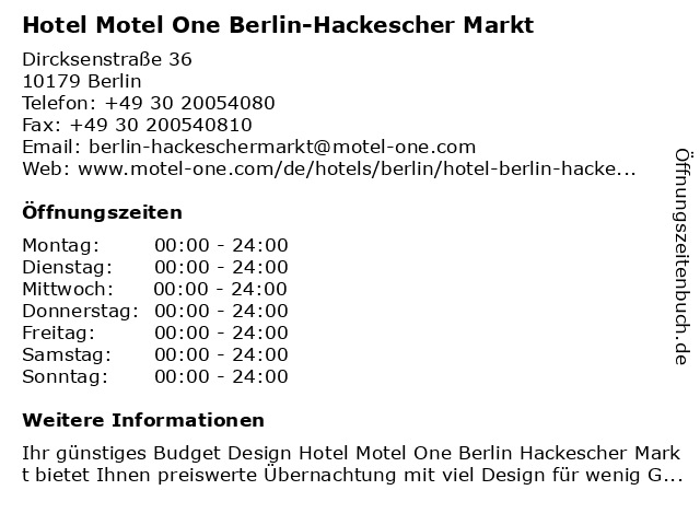 Hotel Motel One Berlin-Hackescher Markt in Berlin: Adresse und Öffnungszeiten
