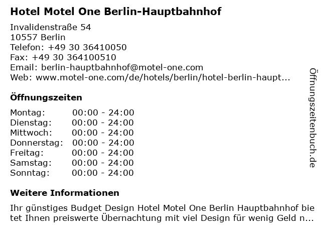 Hotel Motel One Berlin-Hauptbahnhof in Berlin: Adresse und Öffnungszeiten