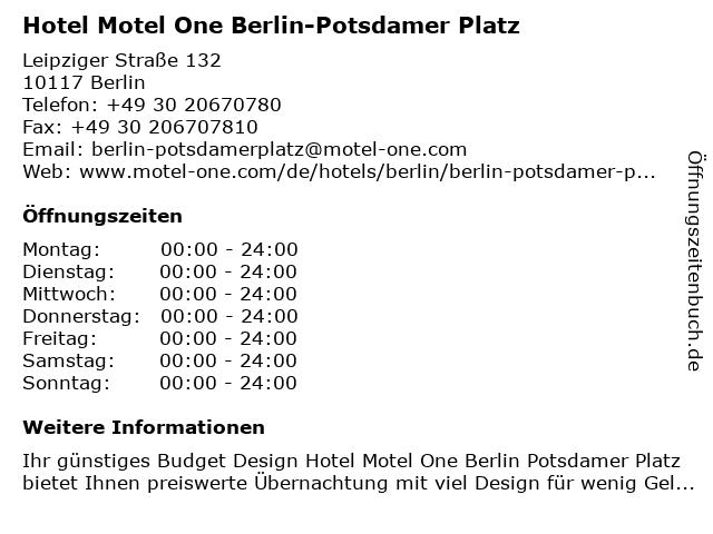 ᐅ öffnungszeiten Hotel Motel One Berlin Potsdamer Platz Leipziger