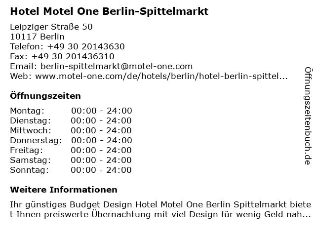 Hotel Motel One Berlin-Spittelmarkt in Berlin: Adresse und Öffnungszeiten