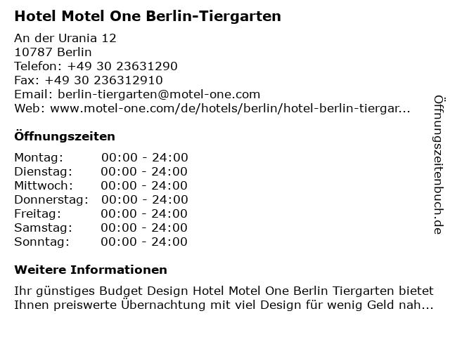 Hotel Motel One Berlin-Tiergarten in Berlin: Adresse und Öffnungszeiten