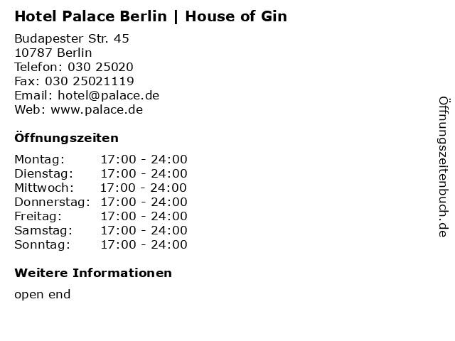 Hotel Palace Berlin   House of Gin in Berlin: Adresse und Öffnungszeiten