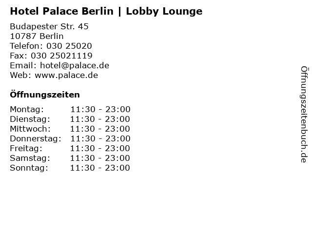 Hotel Palace Berlin | Lobby Lounge in Berlin: Adresse und Öffnungszeiten