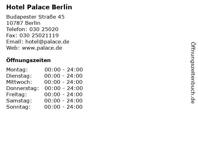 Hotel Palace Berlin in Berlin: Adresse und Öffnungszeiten