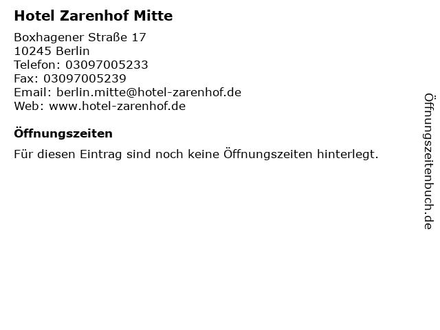 Hotel Zarenhof Mitte in Berlin: Adresse und Öffnungszeiten