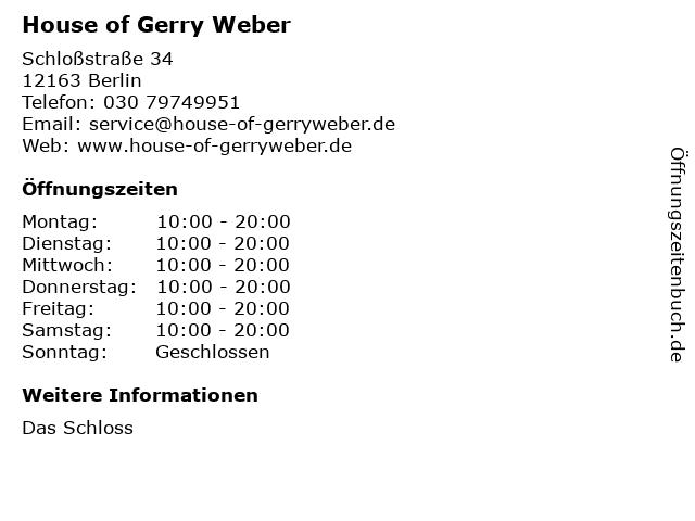 House of Gerry Weber in Berlin: Adresse und Öffnungszeiten