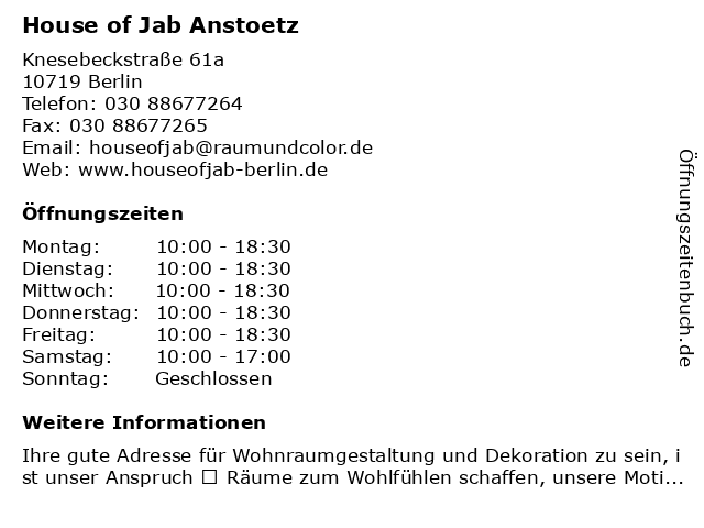 House of Jab Anstoetz in Berlin: Adresse und Öffnungszeiten