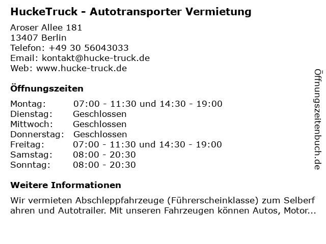 HuckeTruck - Autotransporter Vermietung in Berlin: Adresse und Öffnungszeiten
